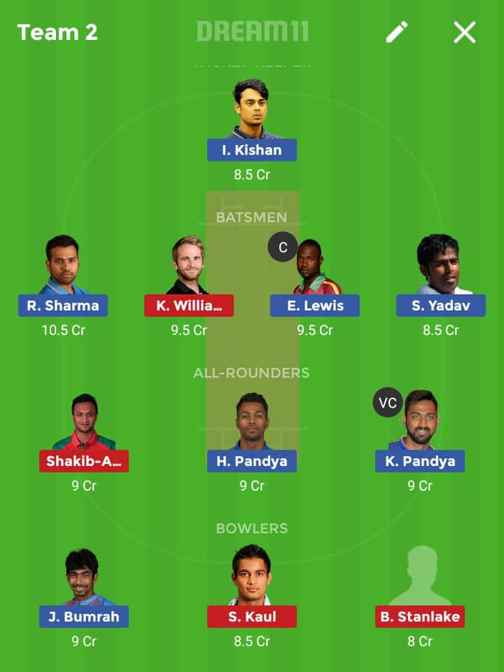 MI vs SRH Dream 11