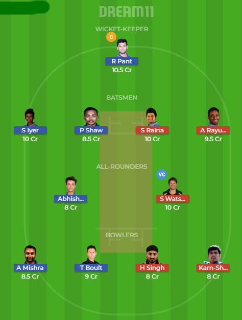 dd vs csk dream11
