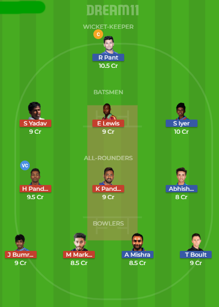 dd vs mi dream11