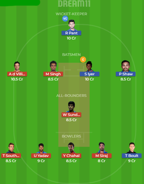 dd vs rcb dream11