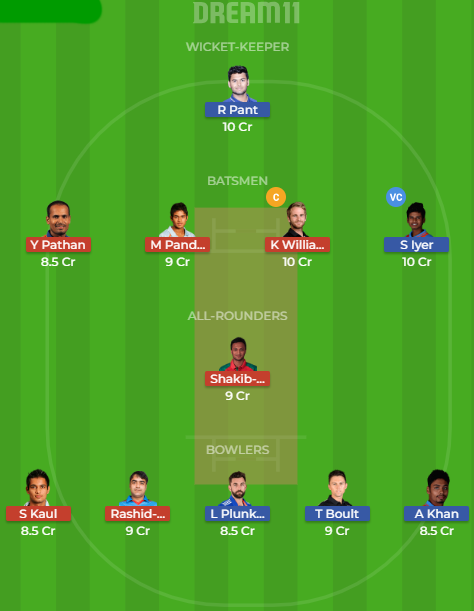 dd vs srh dream11