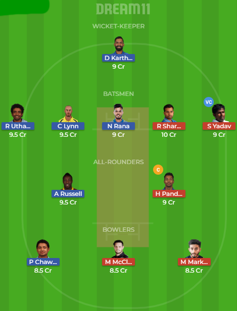 kkr vs mi dream11
