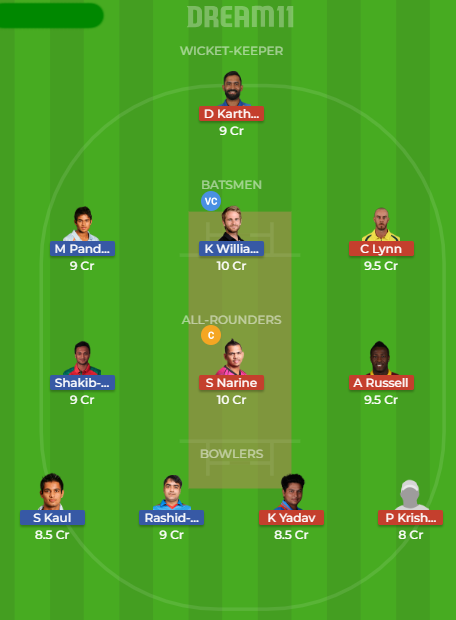 srh vs kkr dream11