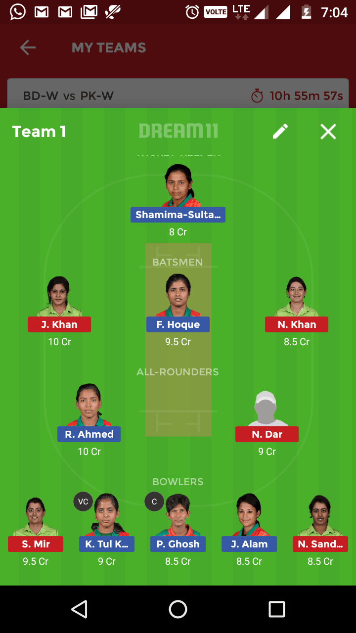 BD w vs PK w dream 11