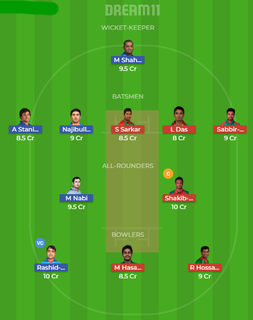 afgh vs ban dream11