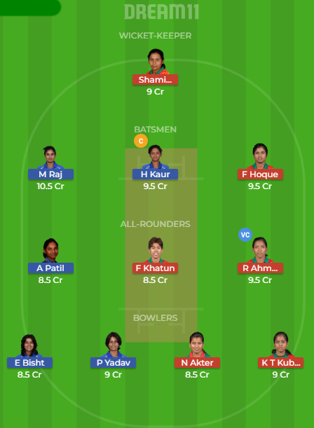 IN W V BD W dream 11
