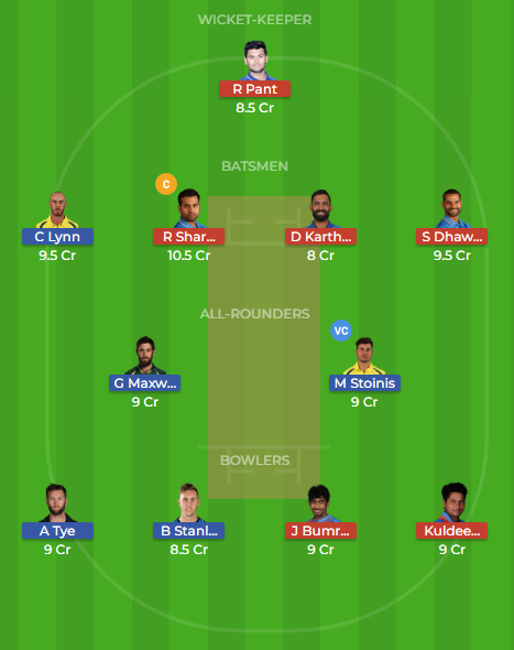 aus vs ind 2nd t20 dream11