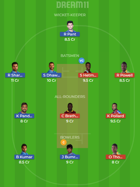 ind vs wi 1st t20 dream11