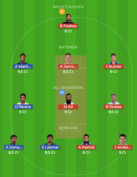 sl vs eng 2nd test dream11