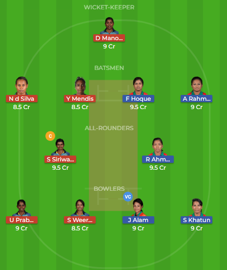 sl w vs bd w t20 dream11