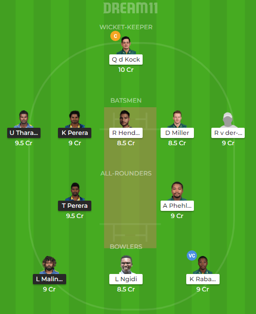 SL Vs SA Dream11