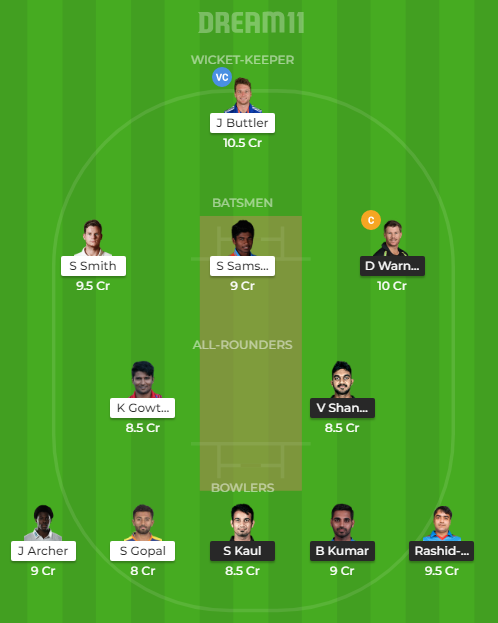 SRH Vs RR Dream11
