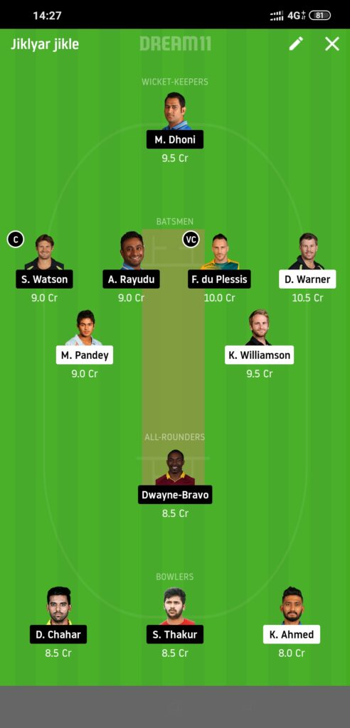 SRH Vs CSK Dream11 IPL 2020